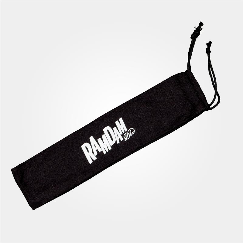 Black cotton pouch, white screenprinted Ramdam Dlx logo. Comes with each fan.