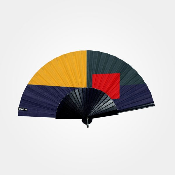 BLOCKED hand fan on printed fabric, colorblock pattern (blue, yellow, green and red), indigo blue painted wood frame