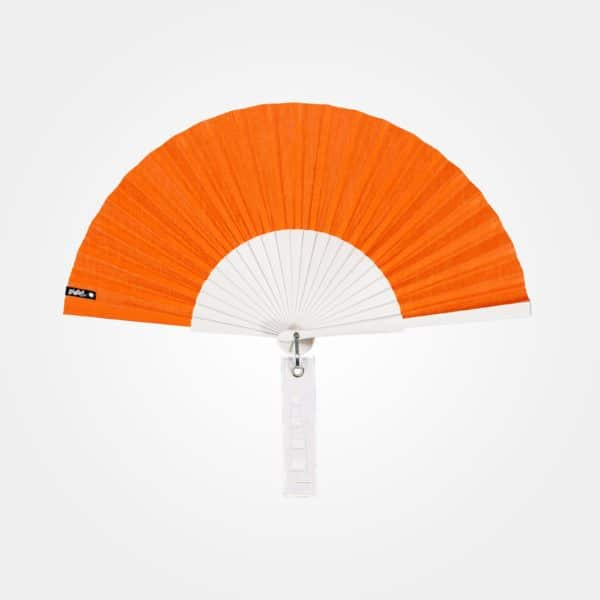 BLOW hand fan in orange fabric, white painted wood frame, embroidered tag (tone-on-tone windsock graphic).