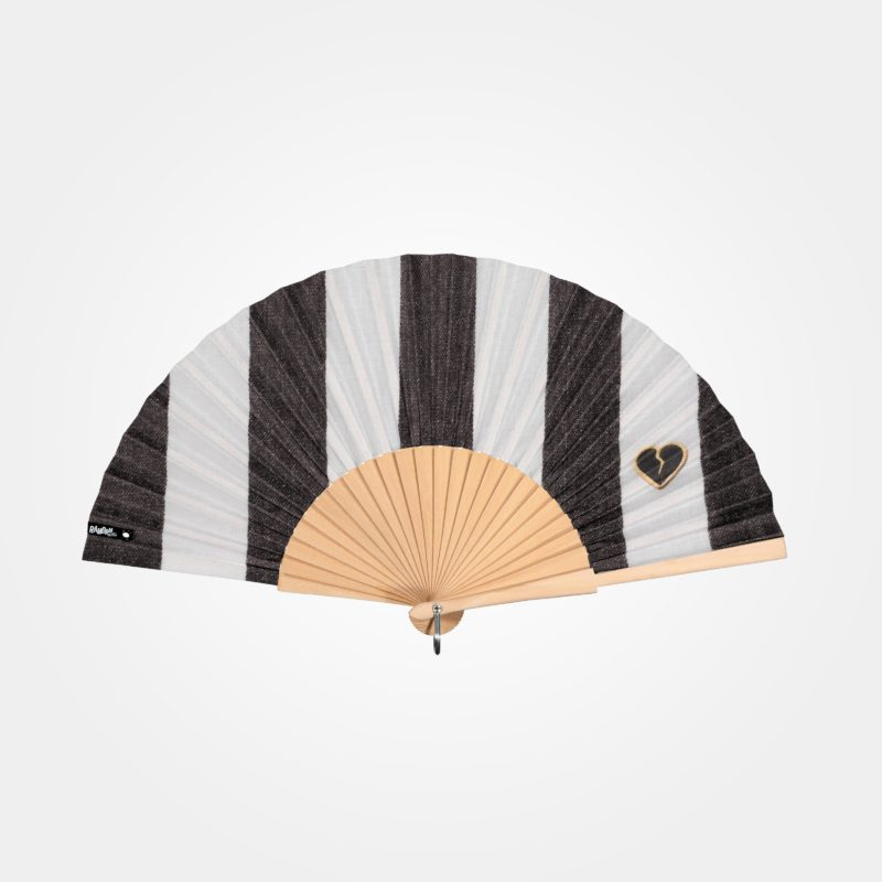 CŒUR D'OR hand fan on printed fabric, broken heart embroidery graphic on gray and white striped imitation denim fabric, natural wood frame