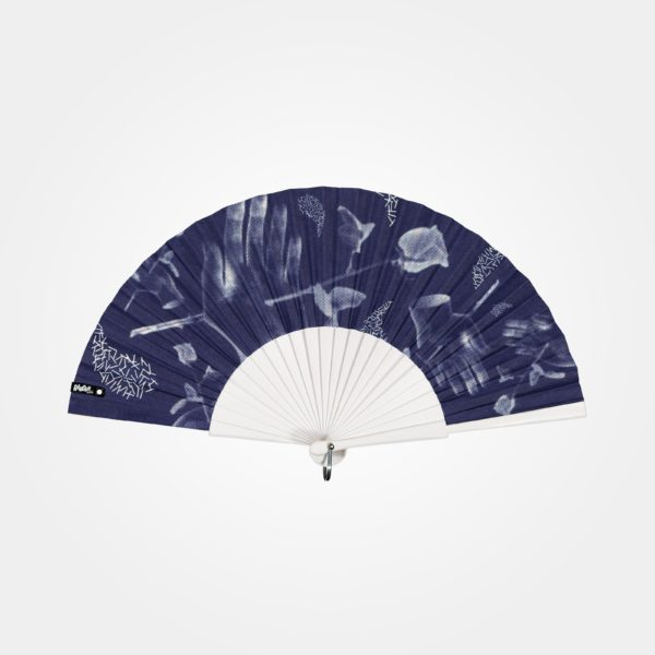 HURT hand fan on printed fabric, white graphic (hands pierced by roses) on indigo background, white painted wood frame