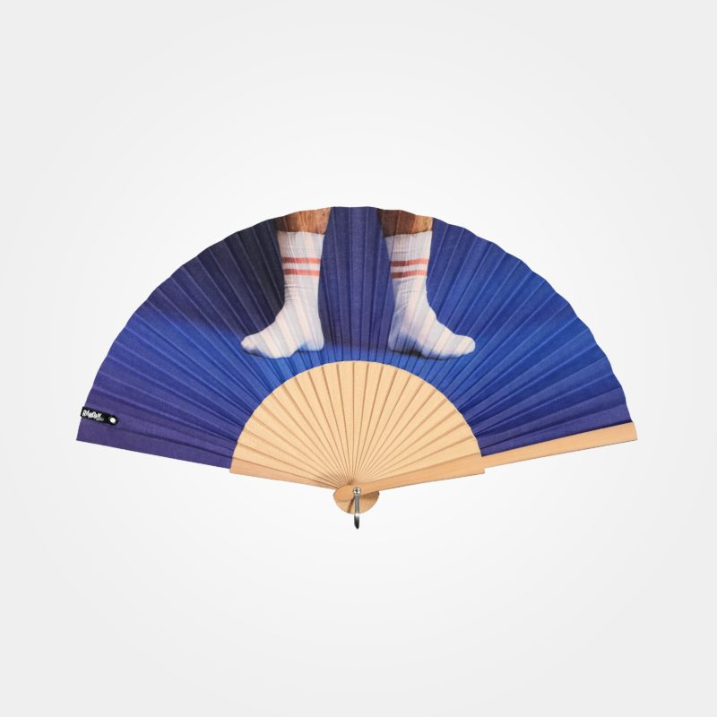 SOCKS hand fan on printed fabric, picture of feet in white sport socks on blue background, natural wood frame