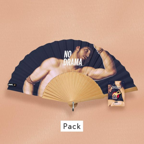 Pack NO DRAMA, éventail & pin's