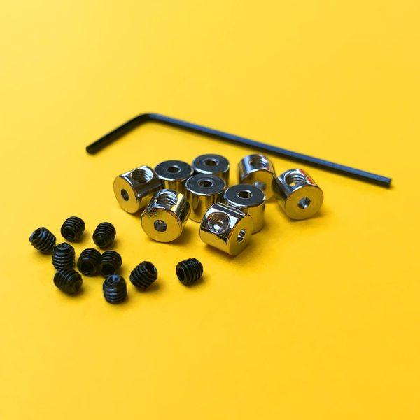 Attaches de sécurité à verrou en métal pour pin's émaillé avec leurs vis et leur clé allen