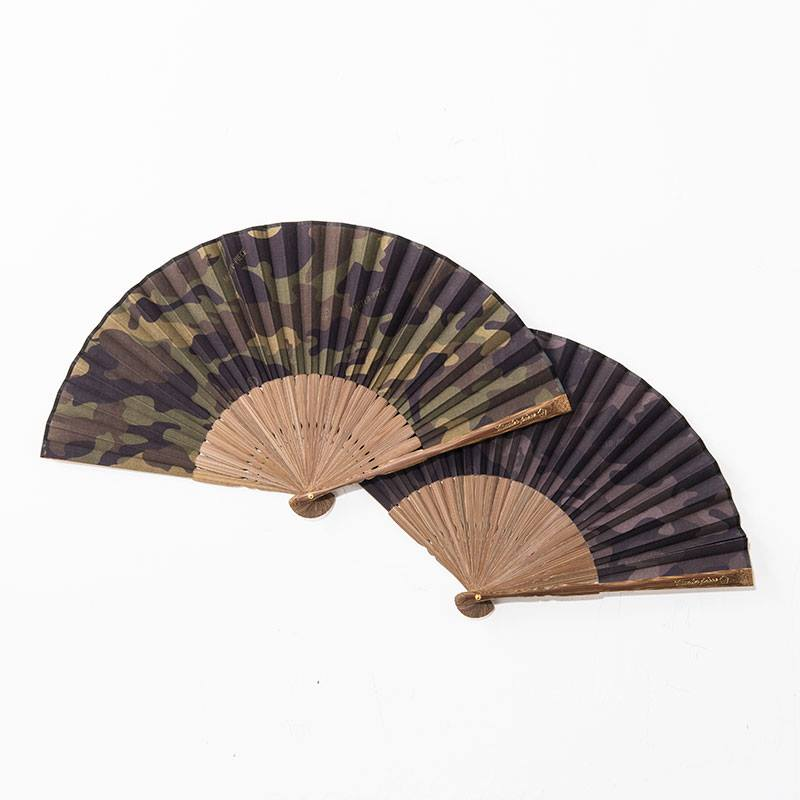 Two Japanese type hand fans, camouflage pattern, on a white background