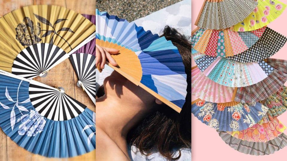 Composition de trois photos d'éventails espagnols de marque Kausi, Agustina Studio et Tusitala