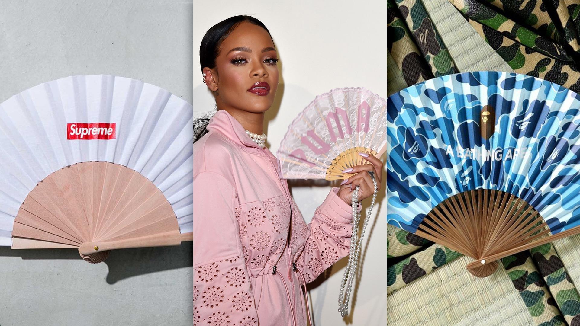 Composition de trois photos d'éventails de marques streetwear et sportswear : Supreme, Puma X Fenti (by Rihanna), BAPE (A Bathing Ape