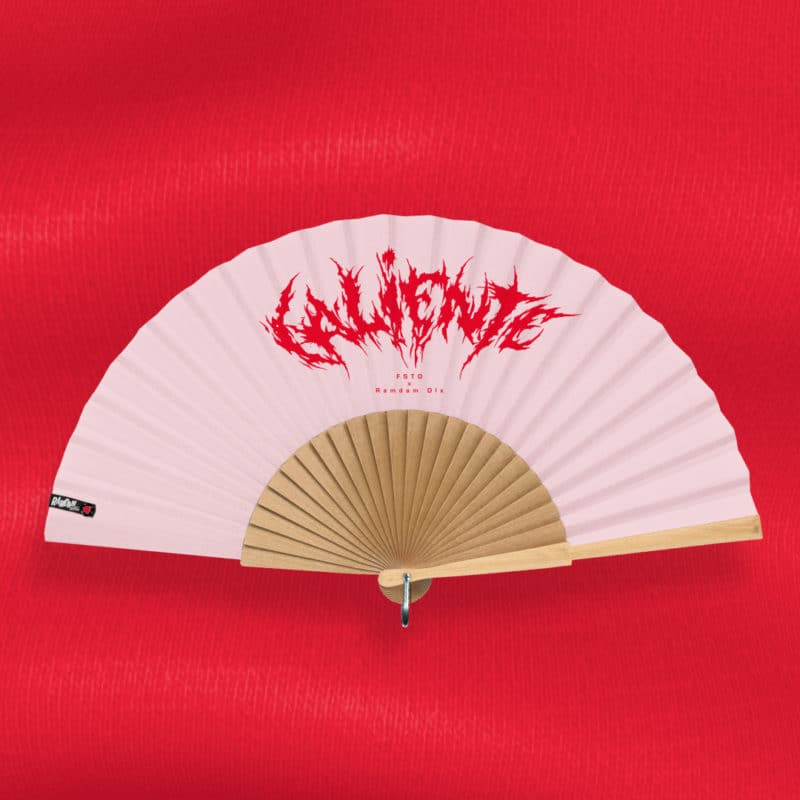 CALIENTE hand fan (FSTD x Ramdam Dlx collaboration) in printed fabric, text pattern, red typography on pastel pink background, hand polished natural wood frame